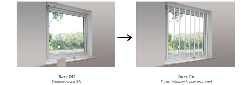 Window Security Bars Interior: Removable Window Security Bars